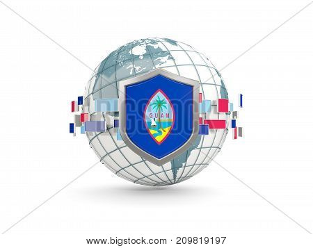 Globe And Shield With Flag Of Guam Isolated On White