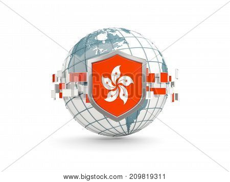 Globe And Shield With Flag Of Hong Kong Isolated On White