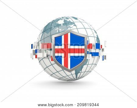 Globe And Shield With Flag Of Iceland Isolated On White
