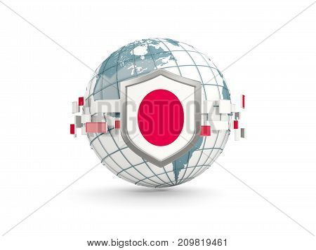 Globe And Shield With Flag Of Japan Isolated On White