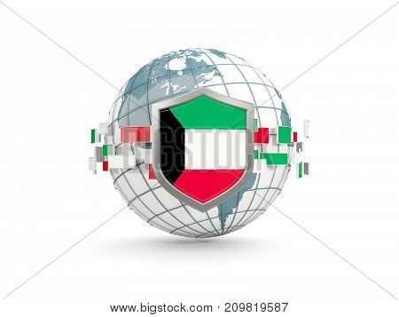 Globe And Shield With Flag Of Kuwait Isolated On White