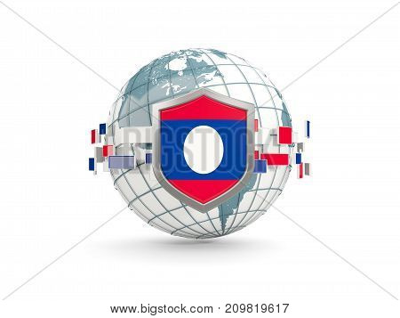 Globe And Shield With Flag Of Laos Isolated On White