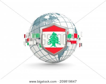 Globe And Shield With Flag Of Lebanon Isolated On White