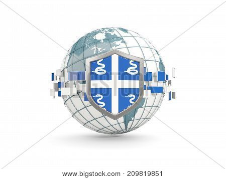 Globe And Shield With Flag Of Martinique Isolated On White