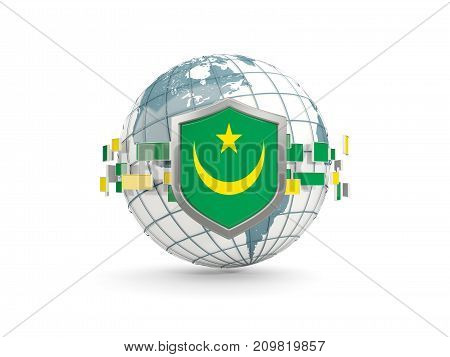 Globe And Shield With Flag Of Mauritania Isolated On White