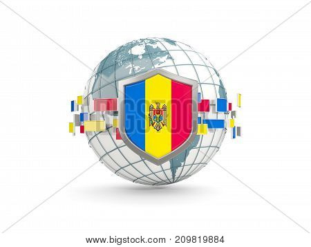 Globe And Shield With Flag Of Moldova Isolated On White