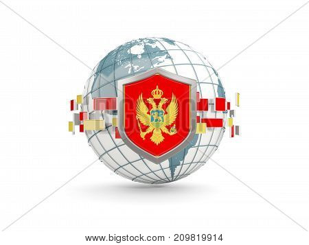 Globe And Shield With Flag Of Montenegro Isolated On White