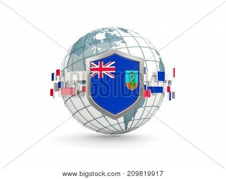 Globe And Shield With Flag Of Montserrat Isolated On White