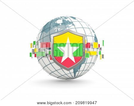 Globe And Shield With Flag Of Myanmar Isolated On White