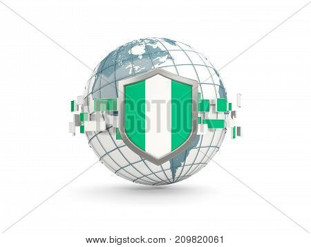 Globe And Shield With Flag Of Nigeria Isolated On White