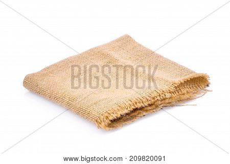 empty square sackcloth isolated on white background for your object backbground