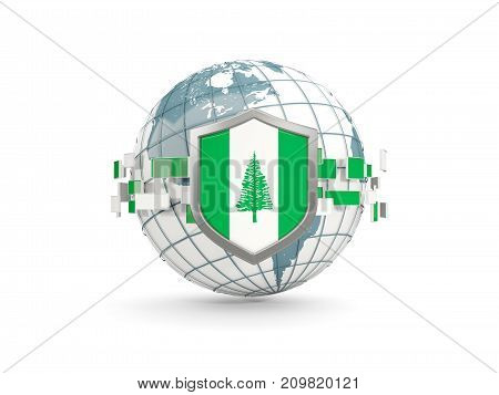 Globe And Shield With Flag Of Norfolk Island Isolated On White