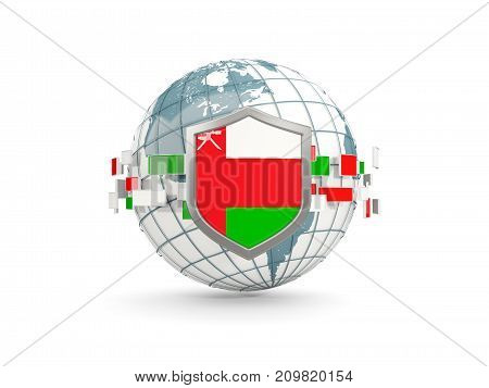 Globe And Shield With Flag Of Oman Isolated On White
