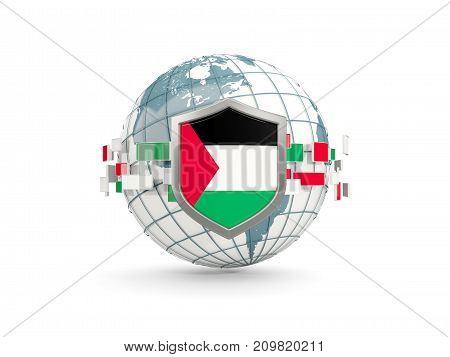 Globe And Shield With Flag Of Palestinian Territory Isolated On White