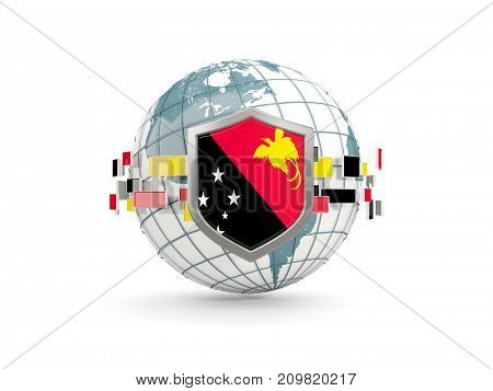 Globe And Shield With Flag Of Papua New Guinea Isolated On White