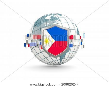 Globe And Shield With Flag Of Philippines Isolated On White