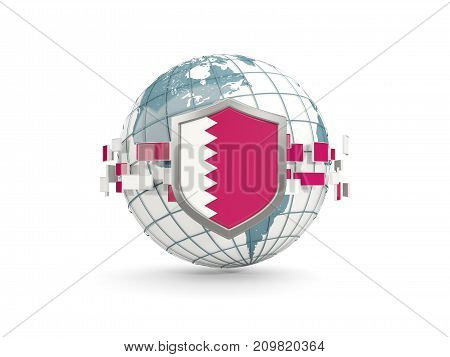 Globe And Shield With Flag Of Qatar Isolated On White