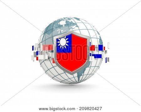 Globe And Shield With Flag Of Taiwan Isolated On White