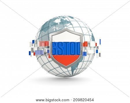 Globe And Shield With Flag Of Russia Isolated On White