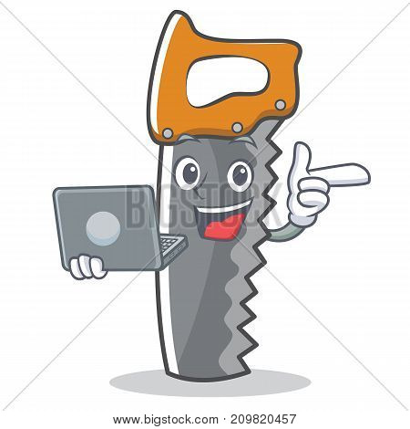 With laptop hand saw character cartoon vector illustration