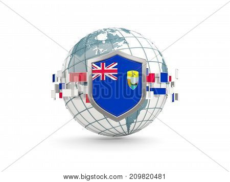 Globe And Shield With Flag Of Saint Helena Isolated On White