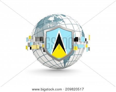 Globe And Shield With Flag Of Saint Lucia Isolated On White