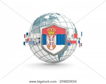 Globe And Shield With Flag Of Serbia Isolated On White
