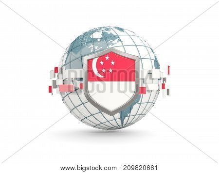 Globe And Shield With Flag Of Singapore Isolated On White