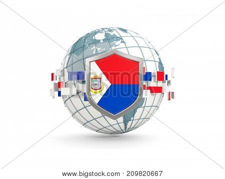 Globe And Shield With Flag Of Sint Maarten Isolated On White