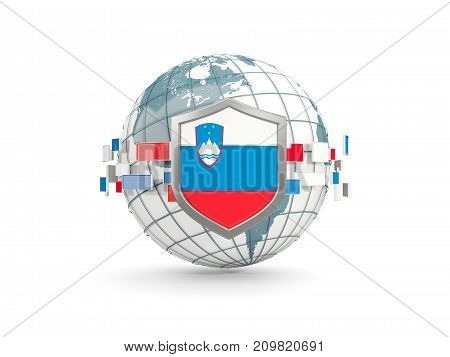 Globe And Shield With Flag Of Slovenia Isolated On White