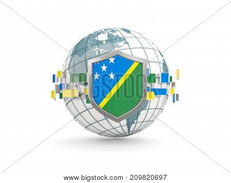 Globe And Shield With Flag Of Solomon Islands Isolated On White