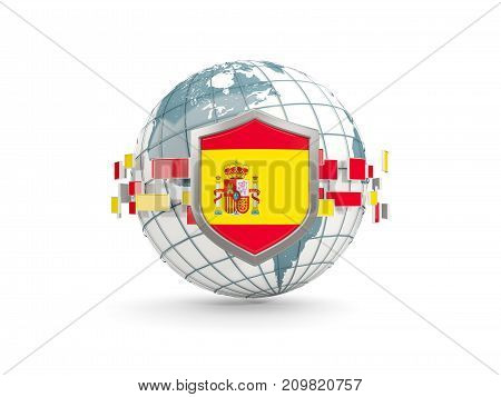 Globe And Shield With Flag Of Spain Isolated On White