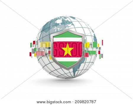 Globe And Shield With Flag Of Suriname Isolated On White