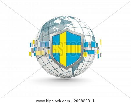 Globe And Shield With Flag Of Sweden Isolated On White
