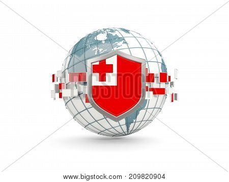 Globe And Shield With Flag Of Tonga Isolated On White