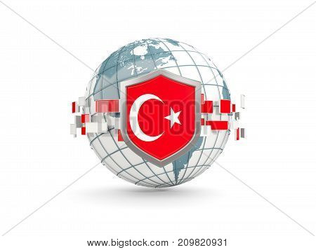 Globe And Shield With Flag Of Turkey Isolated On White