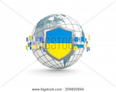 Globe And Shield With Flag Of Ukraine Isolated On White