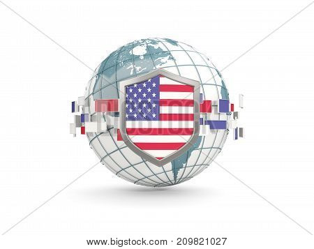 Globe And Shield With Flag Of United States Of America Isolated On White