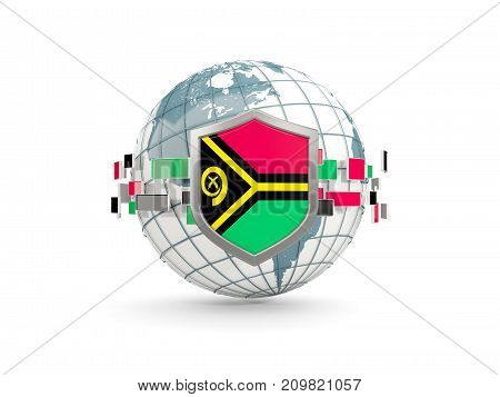 Globe And Shield With Flag Of Vanuatu Isolated On White