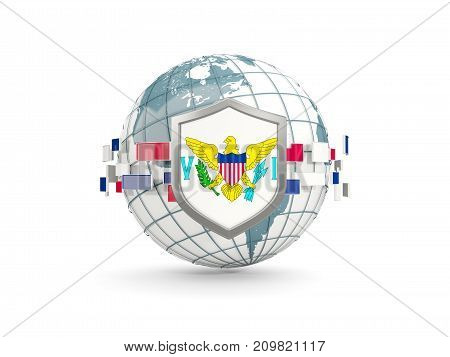 Globe And Shield With Flag Of Virgin Islands Us Isolated On White