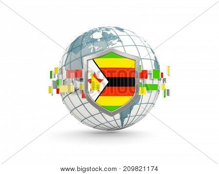 Globe And Shield With Flag Of Zimbabwe Isolated On White