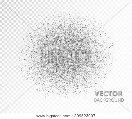 Sparkling circle, silver glitter explosion. Vector dust, diamonds, snow on transparent background. Great for valentine, christmas and birthday cards, wedding invitations, party posters.