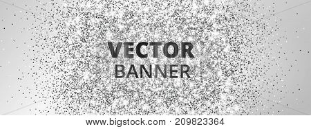 Banner with silver glitter explosion. Sparkles on light background, vector dust. Great for Christmas and New Year, birthday and wedding party invitations, club flyers, website headers.