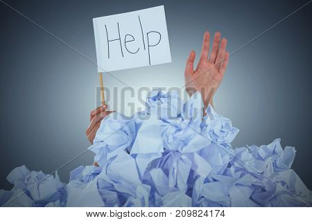 Conceptual image of woman in heap of crumple paper asking for help against purple vignette
