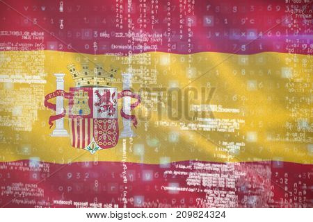 Image of data against digitally generated spanish 3D national flag