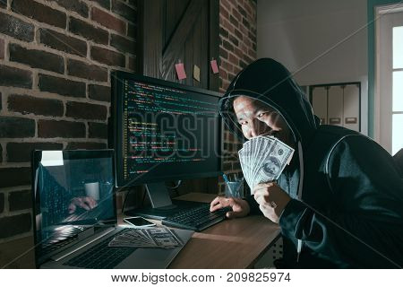 Evil Hacker Holding Cash Banknote Cover Face