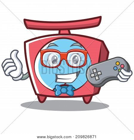Gamer scale character cartoon style vector illustration