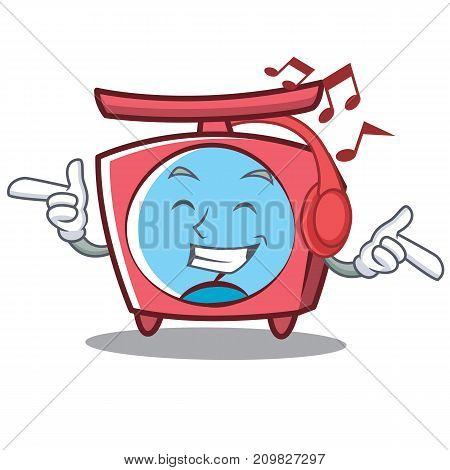 Listening music scale character cartoon style vector illustration