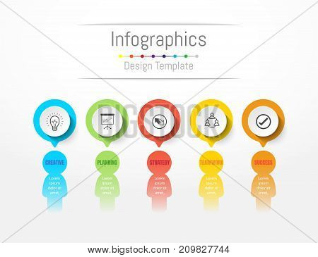 Infographic design elements for your business data with 5 options parts steps timelines or processes. People's communication concept Vector Illustration.