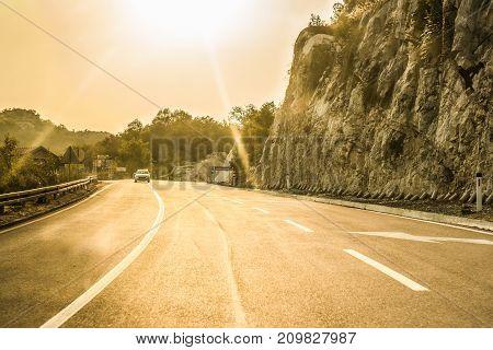 Budva, Montenegro - August 26, 2017: Highway road on the mountain, Montenegro.